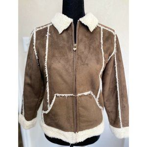 Amy Byer Girls Brown Faux Suede Brown Jacket